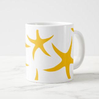 Summery Yellowy-Orange Starfish Pattern Jumbo Mugs