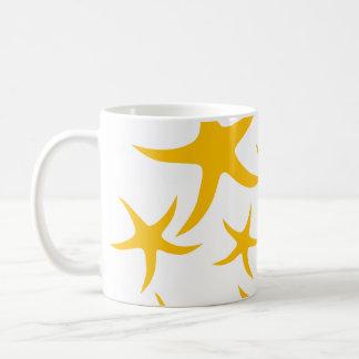 Summery Yellowy-Orange Starfish Pattern. Mugs