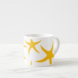 Summery Yellowy-Orange Starfish Pattern Espresso Mugs