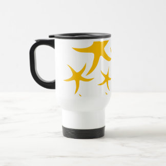 Summery Yellowy-Orange Starfish Pattern. Travel Mug