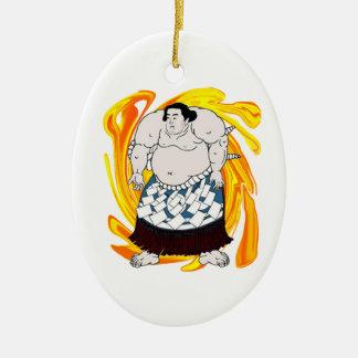 Sumo Sweeper Ceramic Oval Ornament