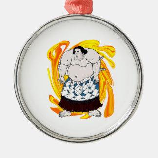 Sumo Sweeper Silver-Colored Round Ornament