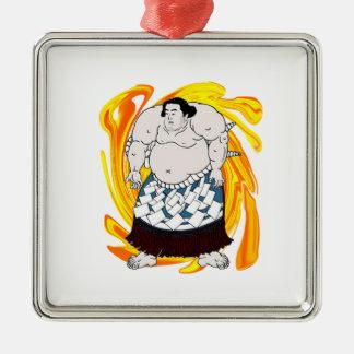 Sumo Sweeper Silver-Colored Square Ornament