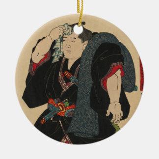 Sumo Wrestler Somagahana Fuchiemon Round Ceramic Ornament