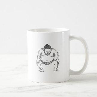 Sumo Wrestler Stomping Doodle Coffee Mug