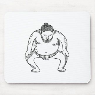 Sumo Wrestler Stomping Doodle Mouse Pad
