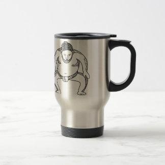 Sumo Wrestler Stomping Doodle Travel Mug