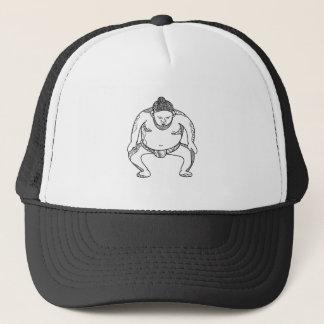 Sumo Wrestler Stomping Doodle Trucker Hat