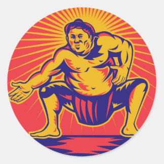 Sumo wrestlercrouching retro woodcut classic round sticker