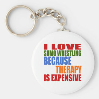 Sumo Wrestling Is My Therapy Basic Round Button Keychain