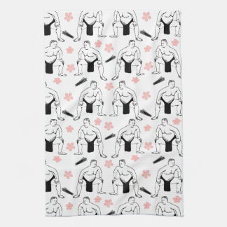 Sumo's and Cherry Blossoms kitchen towel