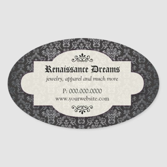 Sumptuous Black Damask Oval Sticker