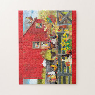 SUN ABOVE AND BLOOMS BELOW ~ Chickens on the Farm Jigsaw Puzzle