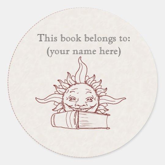 Sun and a book classic round sticker