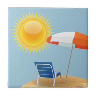 Sun and Beach Umbrella Tile