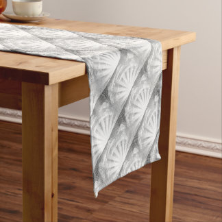 Sun and Clouds Woodcut Short Table Runner