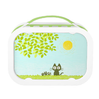 Sun and Leaves and Black Cat Lunch Boxes
