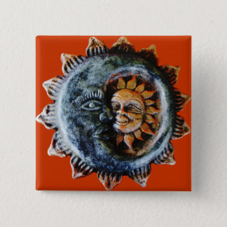 Sun and moon 2 inch square button