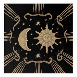 Sun and moon acrylic painting design. acrylic print