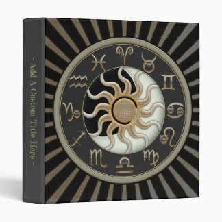 Sun And Moon Astrology Symbols Vinyl Binder