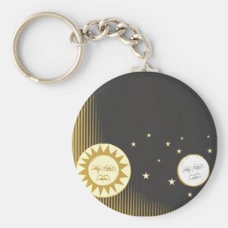 Sun and Moon Basic Round Button Keychain