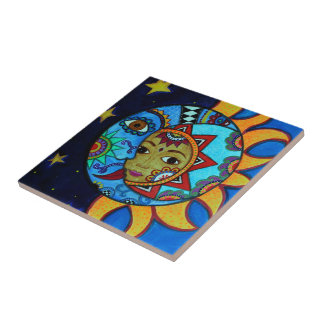 SUN AND MOON COUPLE WHIMSICAL PAINTING TILES