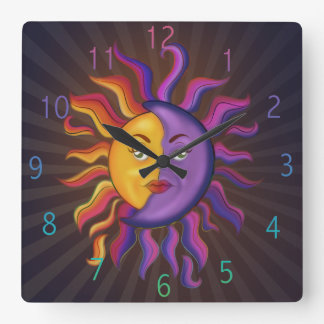 Sun and moon design square wall clock