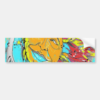 Sun and Moon Design Turquoise Bumper Sticker