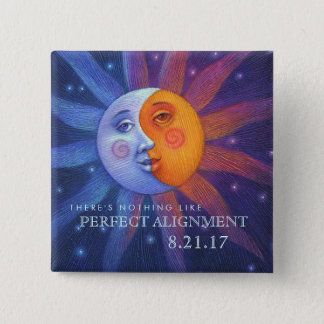 Sun and Moon Eclipse Perfect Alignment 2 Inch Square Button