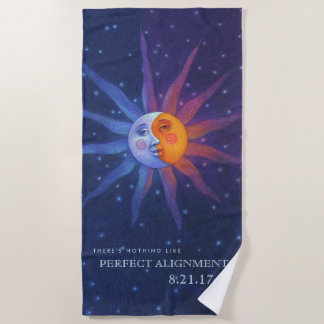 Sun and Moon Eclipse Perfect Alignment Beach Towel