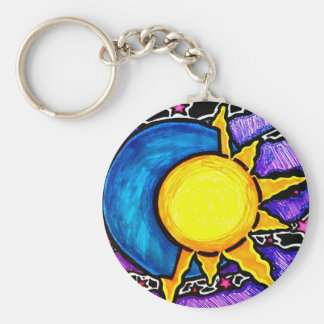 Sun and moon keychain