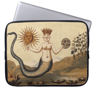 Sun and Moon Merman Laptop Sleeve