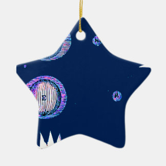 Sun and Moon Outer space Illustration Ceramic Ornament