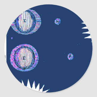 Sun and Moon Outer space Illustration Round Sticker