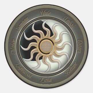 Sun and Moon Pagan Wheel Classic Round Sticker
