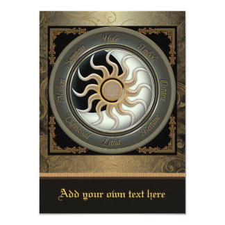 Sun and Moon Pagan Wheel Medium Invitation