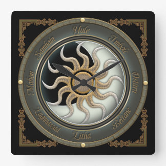 Sun and Moon Pagan Wheel Wall Clock