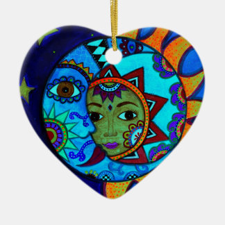 SUN AND MOON PRISARTS PAINTING CERAMIC HEART ORNAMENT