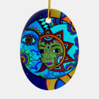 SUN AND MOON PRISARTS PAINTING CERAMIC OVAL ORNAMENT