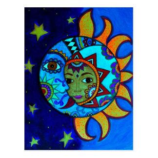 SUN AND MOON PRISARTS PAINTING POSTCARD