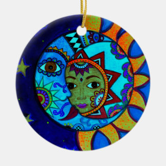 SUN AND MOON PRISARTS PAINTING ROUND CERAMIC ORNAMENT