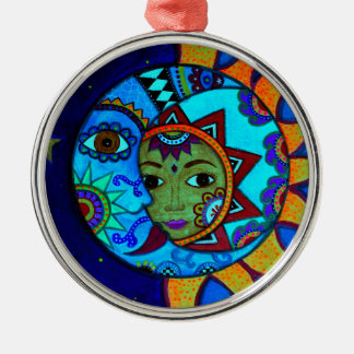 SUN AND MOON PRISARTS PAINTING Silver-Colored ROUND ORNAMENT