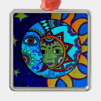 SUN AND MOON PRISARTS PAINTING Silver-Colored SQUARE ORNAMENT