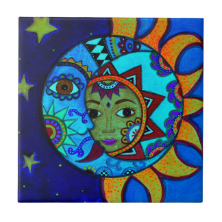 SUN AND MOON PRISARTS PAINTING TILE