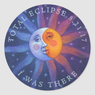 Sun and Moon Total Eclipse I Was There Classic Round Sticker