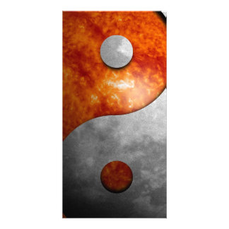 Sun and Moon Yin and Yang Symbol Personalized Photo Card