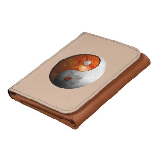 Sun and Moon Yin Yang Leather Tri-fold Wallet