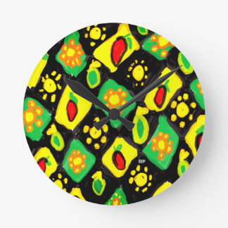 Sun and peppers round clock