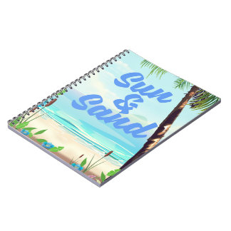 Sun and Sand inspirational quote cartoon poster la Notebook