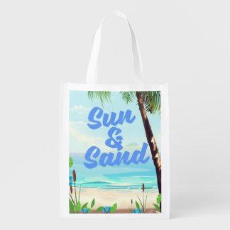 Sun and Sand inspirational quote cartoon poster la Reusable Grocery Bag